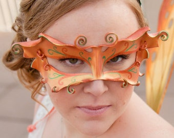 Faerie or butterfly mask in fall colors. Autumn goddess or fairy costume for ren faire, festival wear, or Halloween party. READY TO SHIP