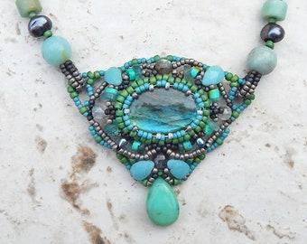 Green Blue Labradorite Beaded Necklace in Seafoam & Sage, OOaK Beadwoven Necklace w/ Semiprecious Stones, Amazonite, Andean Opal, Moonstone