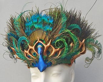 Sculpted Leather Peacock Headdress or Crown with Elaborate Feather Work Accents - Bridal, Bellydance, Performance, Goddess Headpiece