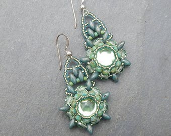 Sage Green Bohemian Beaded Mandala Earrings with Sterling Silver - Vintage Glass Cabochons , Peridot, Seafoam and Olive Greens