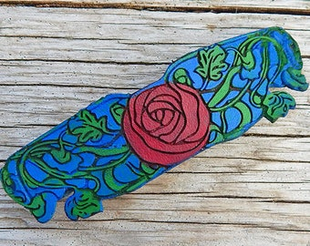 Art Nouveau Red Rose Leather Hair Barrette with Green Vines & Blue Sky with French Clip, Romantic Boho Style for Long Hair, Mothers Day Gift
