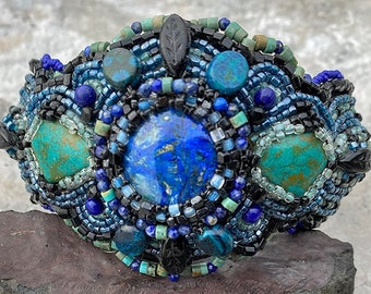 Bead embroidered cuff bracelet with azurite malachite, vintage turquoise & antique glass. Unique beaded statement jewelry for free spirits.