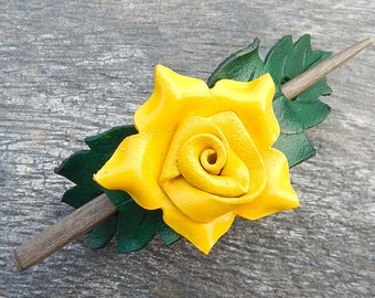 Yellow Rose Leather Shawl Pin or Ponytail Holder, Handcrafted Leather Accessory can be a Hair Stick or Scarf Clasp, Perfect Mothers Day Gift