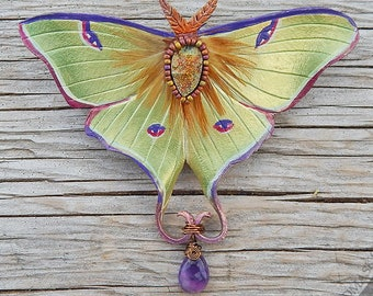 Jeweled Luna Moth Barrette with Bronze Druzy and Faceted Amethyst Teardrop, OoAK Beaded Leather Hair Clip with Semiprecious Stones