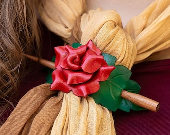Red rose leather shawl pin or scarf clasp. Little hair slide or ponytail holder. Romantic floral accessory with wooden stick.