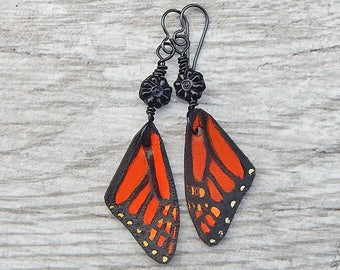 Monarch Butterfly Leather Earrings, Orange and Black Dangle Earrings with Glass Flowers and Niobium Hooks, Butterfly Wings, Pollinator