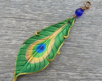 Large Leather Peacock Feather Pendant with Your Choice of Beaded Neckline, Antique Copper Chain or Hand Dyed Ribbon Closure -  Boho Gift