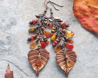 Birch leaf leather earrings with semiprecious stones. Falling leaves mixed media boho jewelry with hessonite garnet and tigers eye.