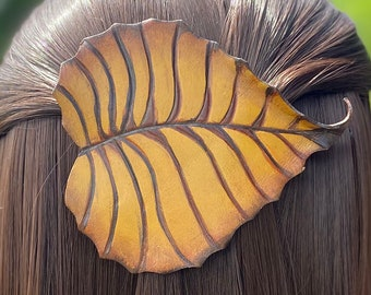 Woodland birch leaf leather hair accessory with French clip barrette. Golden brown leaf barrette with high quality metal snap clip.