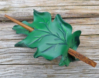 Leather oak leaf shawl pin in bright summer green. MADE TO ORDER Handcrafted ponytail holder with wooden hair stick. Gifts under 30.