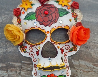 Tooled Leather Sugar Skull Mask, Roses and Old Lace Organza and Leather Flower Headdress, Day of the Dead, Dia de los Muertos, READY TO SHIP