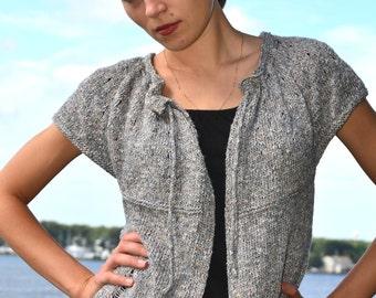 Drop Stitch Cardigan PDF knitting pattern for top down seamless sweater.