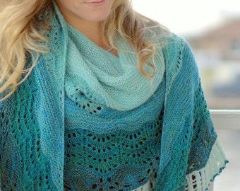 Endless Waves, A Large Crescent Shaped Shawl PDF knitting pattern