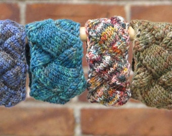 Brianna, a knitted, buttoned, entrelac wristband or cuff.  PDF pattern
