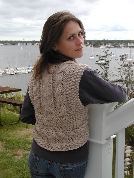 Bulky Cable Vest Knitted In One Piece Quick And Easy Pdf Etsy