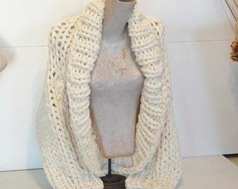 Super chunky shrug crop cardi cardigan jacket sweater shawl collar long sleeve fits most extra small small medium women hand knit light blue