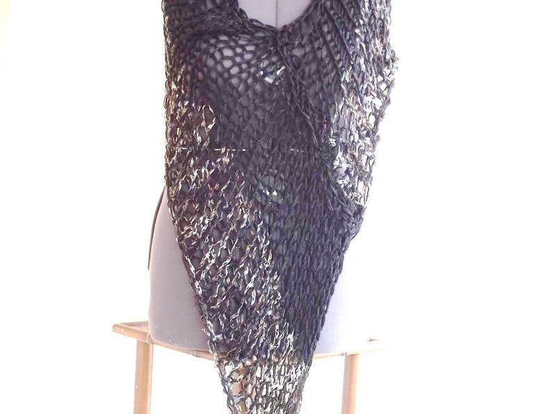 Poncho boho shawl wrap cover up loosely knit light weight openwork hand knit in black with silvery accent stripe
