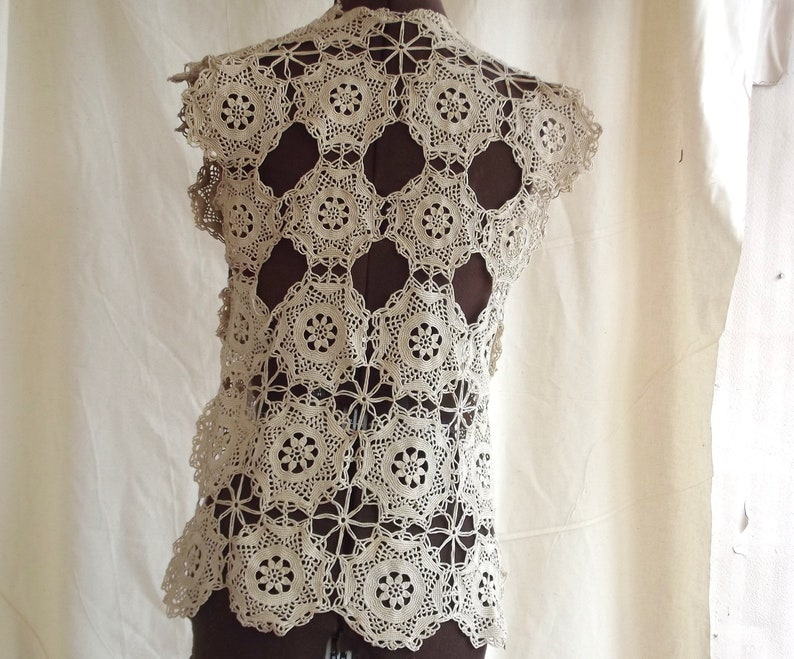 Lacy medallion vest for extra small and small women from vintage hand crocheted fabric