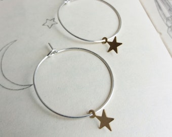 Little Stars hoop earrings - mixed metals - golden brass and silver - nickel free