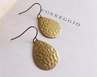 "Gold Hammered Peardop earrings - Golden Sun - tear drop - raw brass - textured - 1"" - nickel free"