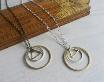 Mixed Geometric charm necklace - petite circles and triangle in mixed metals on silver - minimalist jewellery