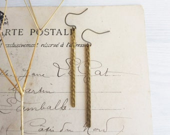 Textured Brass Stick earrings - golden brass - minimalist jewellery - nickel free