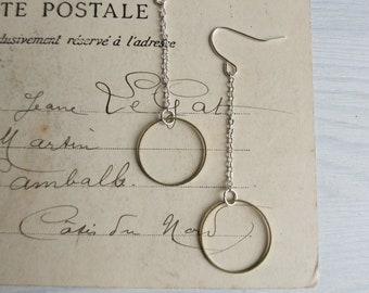 Modern Hoop Earrings on Chains - brass hoops on silver chain - minimalist jewellery - nickel free