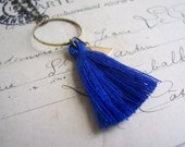 Royal Blue Tassel necklace with Triangle charm - cotton and brass on fine chain - Spring jewellery