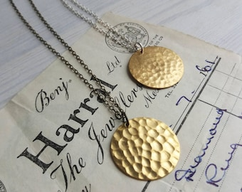 Gold Hammered Disc necklace - Golden Sun - raw brass on silver or bronze - textured circles - nickel free