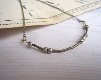 Love Morse Code necklace - mixed metals - personalised message - dots and dashes