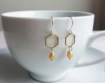 Honeycomb and Jade hexagon earrings - silver and yellow geometric shapes - minimalist jewellery
