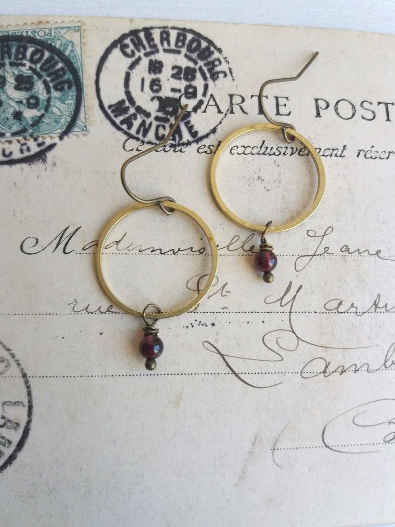 Golden Hoops with Garnets  drop earrings  deep red gem image 0
