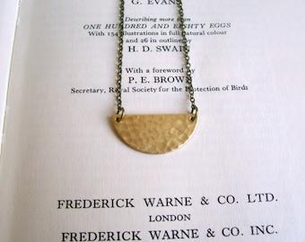 Golden Half Moon necklace - textured brass semi circle on fine chain - minimalist jewellery