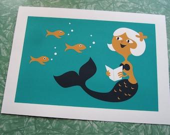 Reading Mermaid Silkscreen Print