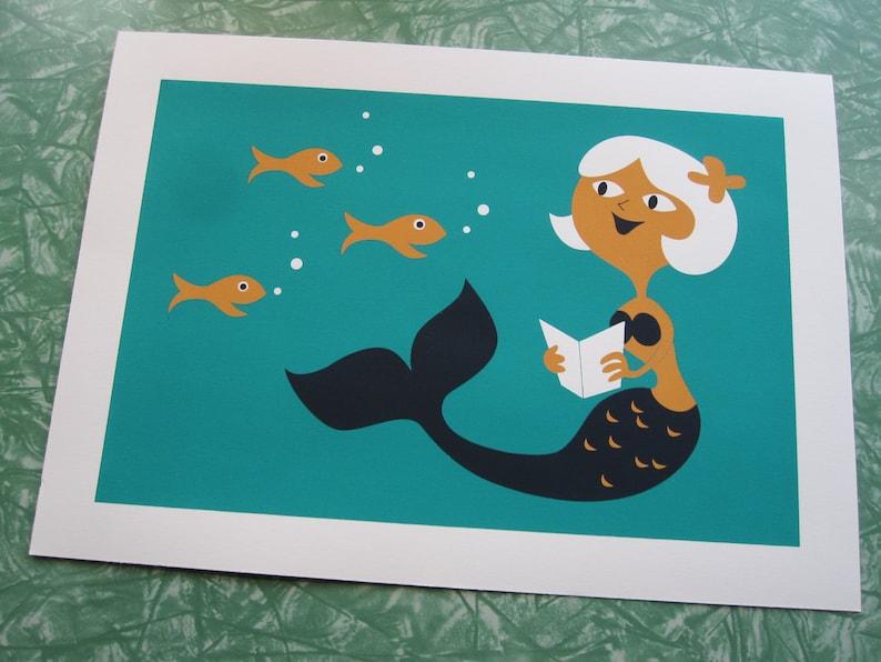 Reading Mermaid Silkscreen Print image 0