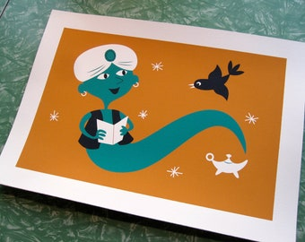 Reading Genie Silkscreen Print