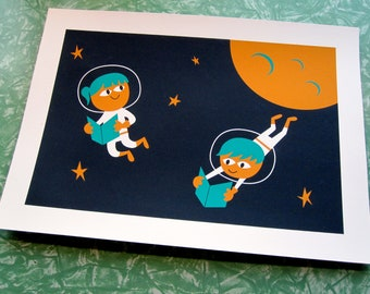 Reading Astronauts Silkscreen Print