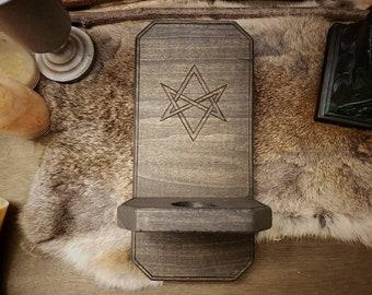 Rustic Wood Sconce - Unicursal Hexagram