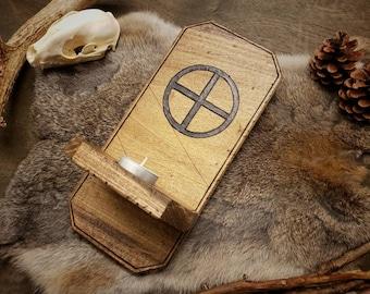 Rustic Wood Sconce - Woden's Cross