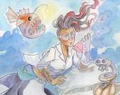 Science Genius Mermaid: A Fantasy Art Print