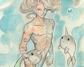 Merman: Fantasy Mermaid Art Print