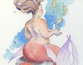 Dancing Fish - Mermaid Print Watercolor Painting - Mermay