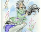 She Cries Pearls: Mermaid Art Print