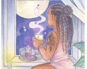 A Little Tea Magic - Witchtober Print Watercolor Painting - Witchy Art