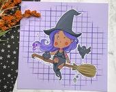 Witchy Goth Chibi  - Cute Halloween Art Print