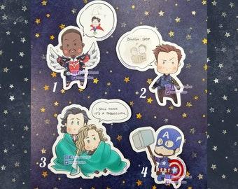 Superhero Chibi Die Cut Stickers - Cute Sylki SamBucky Cap