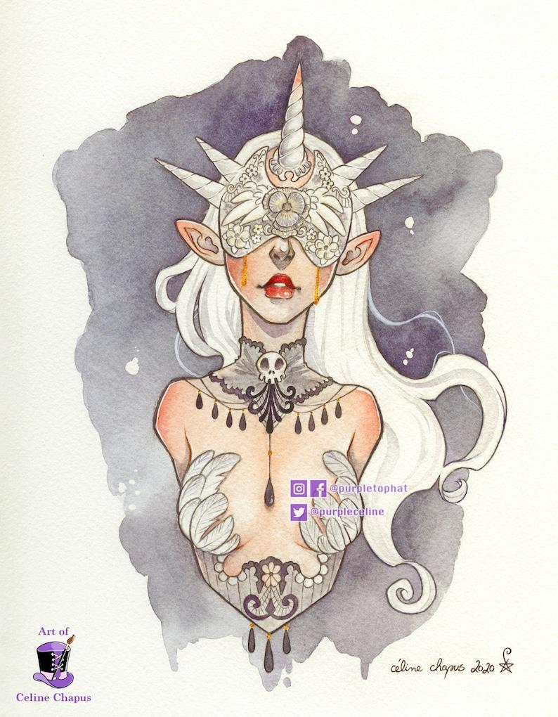 The Unicorn  Fantasy Gothic Original Art Print image 0