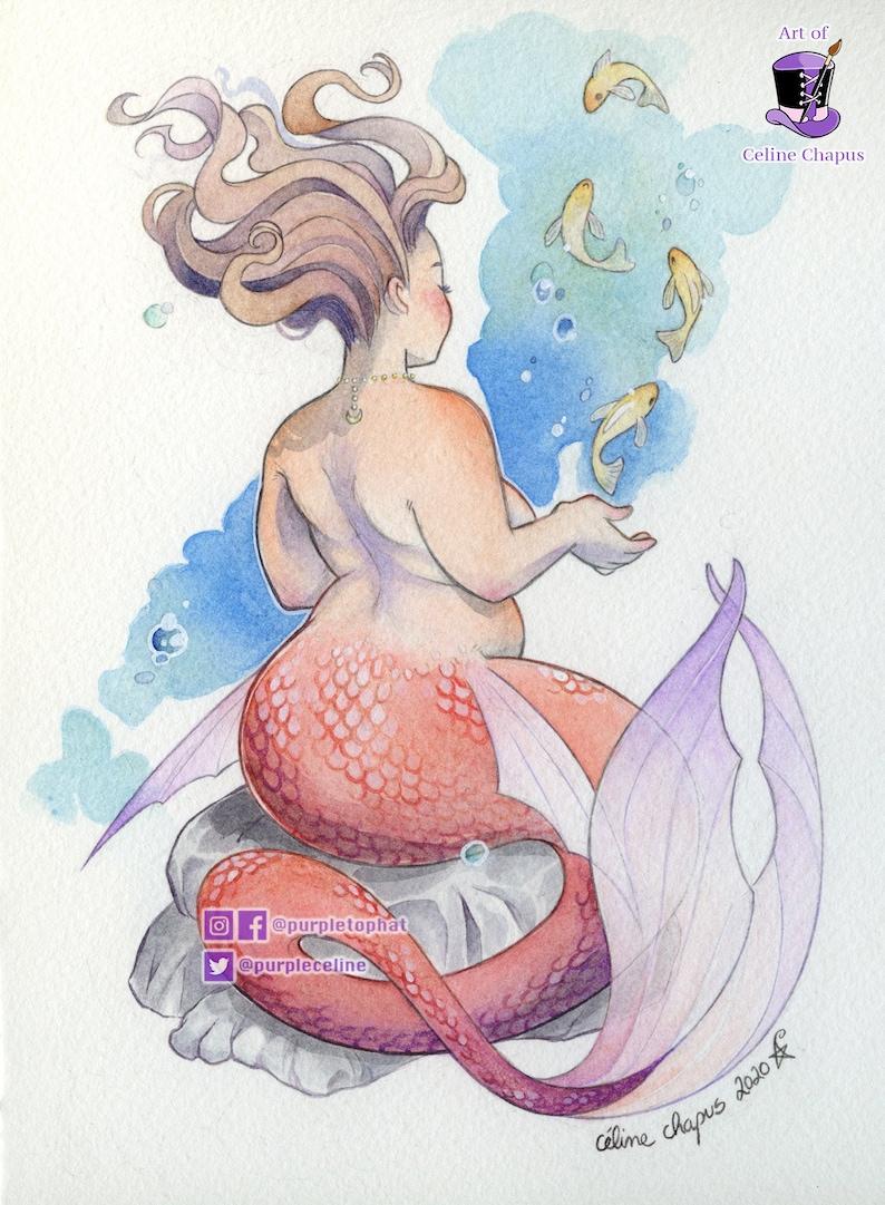 Dancing Fish  Mermaid Print Watercolor Painting  Mermay image 0