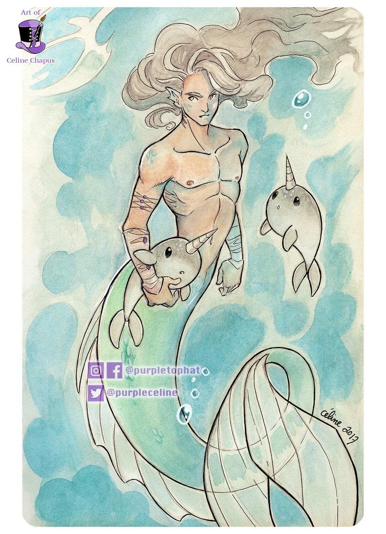 Merman: Fantasy Mermaid Art Print image 0