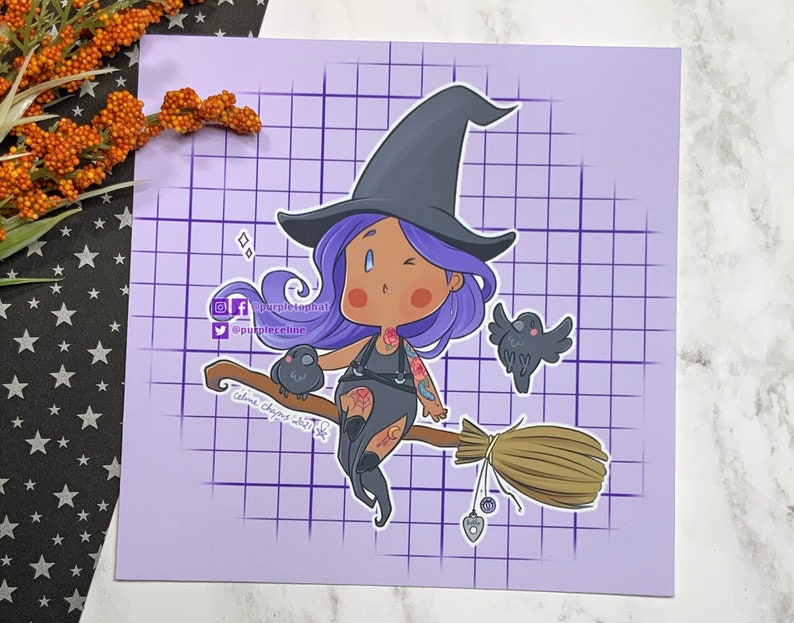 Witchy Goth Chibi   Cute Halloween Art Print image 1
